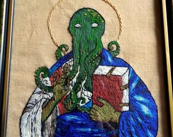 Hand embroidered picture of Cthulhu, St. Cthulhu, Lovecraft