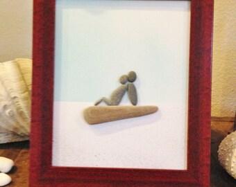 """Pebble Art  """" Baby Bump III """"  Beach Decor Stone Rock People Baby Shower Gift"""