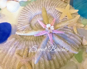 Soft gold and ice pink starfish Ocean Beach Seaside Nautical Wedding Decor