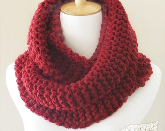 Chunky Knit Infinity Scarf   Outlander Inspired Double Loop Cowl   Colour - Scarlet   Ready to Ship