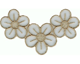 """3 7/8"""" by 2 3/16"""" Sheer Embroidered Flower Applique Sew On Patch Craft Supplies w/ Free Shipping"""