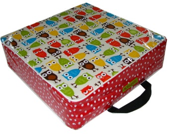 BAREFOOT children booster seat owls / red dots