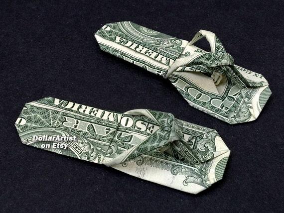 sandals money origami art dollar bill cash slippers thongs