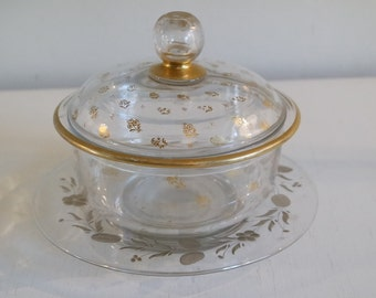 Vintage 1920 golden patterned glass sweetmeat box