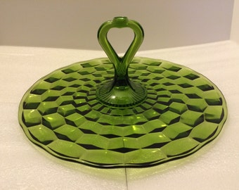 1960s Colony (Indiana Glass) Whitehall Green Center Handle Serving Tray