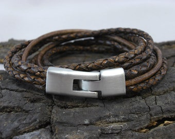 Bracelet leather braided Brown for men