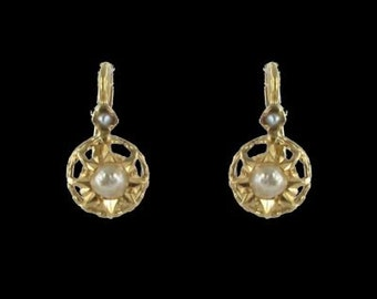 Old sleepers pearls 19th 18K Yellow Gold