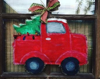 One Christmas truck/tree burlap door hanger