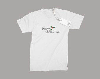 Classy Boys And Girls T-shirt With Hand-printed Merry Christmas Design