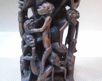Vintage Kenyan Wood Carving - Ebony Tree of Life Sculpture - 15 carved figures in this detailed art piece - 9 inches tall - Free Shipping