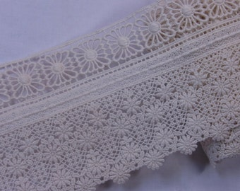 "Embroidered Lace Trim  Cotton Crochet  Ivory 11cm(4.3"") Wide 1Yd"