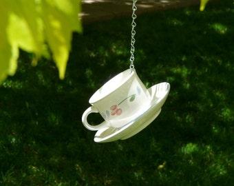 Tea Cup Bird Feeder with Pastel Flower