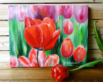 "Art, Oil Painting, Flower Paintings, Red, Tulip, Original Oil Painting, Oil Painting On Canvas ""12 x 16"" (30cm x 40cm)"