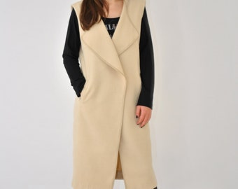 Woman Sleevless Coat/White Cashmere Coat/Extravagant Long Coat/Cashmere Sleevless Coat/Ivory Sleevless Coat/Cashmere Vest/Maxi Cashmere Vest