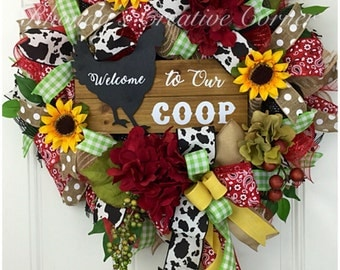 Welcome to Our Coop Deco Mesh Wreath, Deco Mesh Farm wreath, Welcome to our Coop Wreath, Silk Flower Wreath, Country Wreath