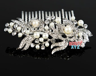 Wedding hair comb, Pearl hair comb, Bridal pearl comb, Rhinestone wedding hair comb, Wedding comb pearl, Bridal hairpiece #222