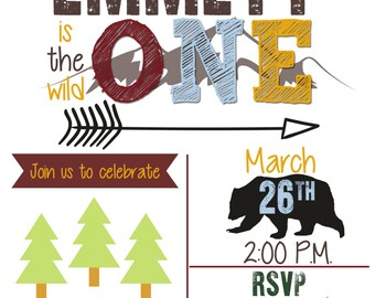 Wild One Woodland Birthday Invitation