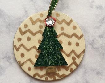Hand Painted Christmas Tree Wood Ornament