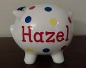 Piggy Bank Personalized.Custom Piggy Bank.Baby Shower Gift.Piggy Bank.Bank.Girl Bank.Boy.Baby Bank.Polka Dot Bank.Birthday Gift.Baby Gift.