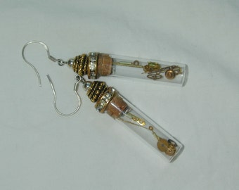 Steampunk Upcycled Watchworks gold plated earrings with Swarovski crystals and rhinestones
