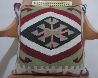 Meaning Family Design Turkish Kilim Cushion 16 x 16  Decorative Sofa Pillow Bohemian Pillow Ethnic Pillow Turkish Pillow cover