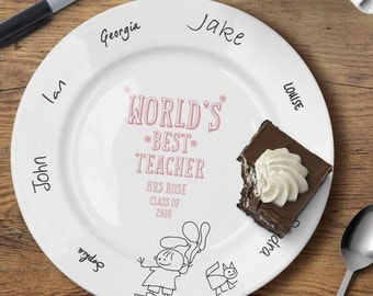 Personalised World's Best Teacher Message Plate - For Him or Her