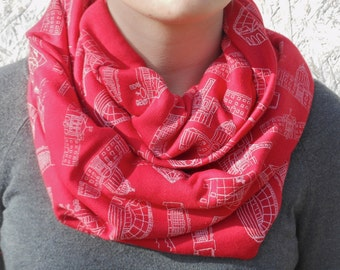 Madison Architecture Infinity Scarf, Screen Printed (Red)
