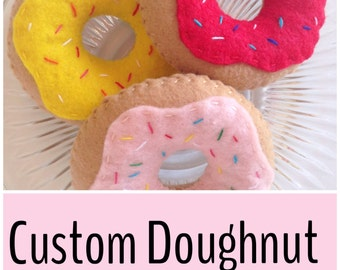 """3"""" Felt Play Food Doughnut with Frosting and Sprinkles, Any Colors You Choose"""