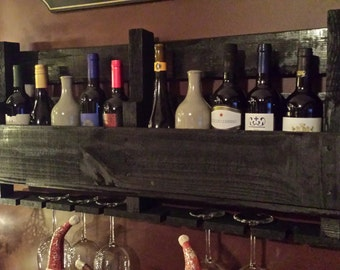 Reclaimed Wood/Pallet Wine Rack with glass holders