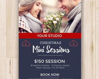 Christmas Mini Session Template - Booking Ad - Photography Marketing Board - Photoshop template - INSTANT DOWNLOAD