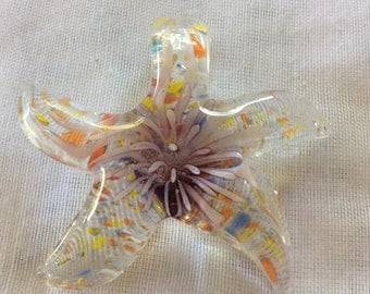Multicolors  Star  Lampwork Glass Pendant