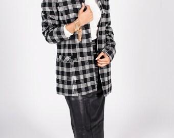 Vintage Wool & Silk Blend Plaid Coat