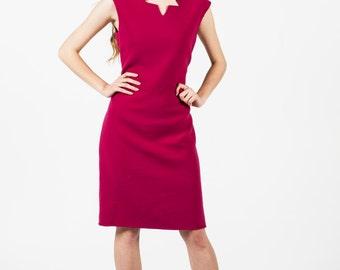 Vintage 80s Bill Blass Pink Sleeveless Sheath Dress Sz 8