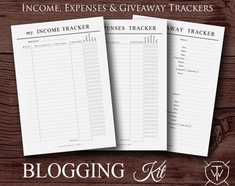 Printable Blogging Kit | A5, A4 & US Letter | Income, Expenses and Giveaway Trackers - Instant Download