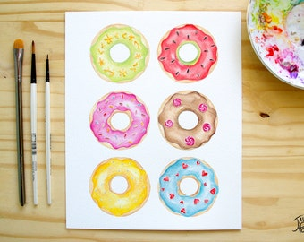 8x10 colorful donuts watercolor painted - Print (original reproduction) on watercolor paper - made in Quebec