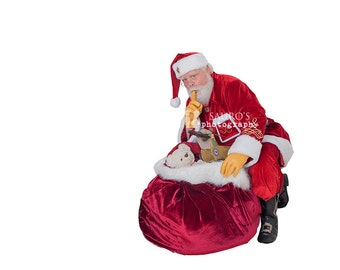 1 real Santa with bag overlay ,santa png, christmas santa overlays, scrapbooking christmas, cutout, instant download, Real santa, santa png,