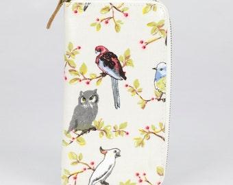 Oilcloth Zip around Wallet - Australia bird Cockatoo - Oil cloth ladies purse- Ladies Zip wallet - Coin purse- Laminated cotton- Iphone Plus