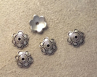 Silver Plated Bead Caps B - 5 pieces