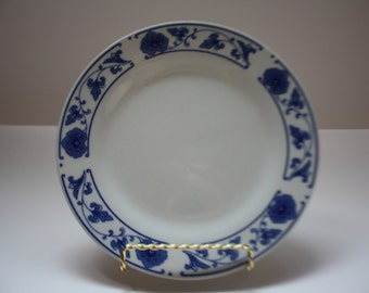 Cobalt Blue and White Chinese Porcelain Plate Set of (4), Vintage, Plateware, Salad Plates, Floral, Blue and White,