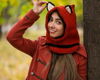 Crochet Snood Scarf Fox,knit hood scarf crochet hood scarf ,Red Fox snood,gift for her,womens gift, girlfriend gift Valentine's Day gift