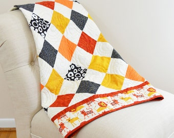 Orange and Yellow Lion Diamonds Baby Quilt