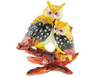 OWL with baby baby OWL as a jewelry box or pills box jewelry box collectible decoration Strass new