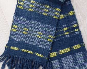 Handwoven scarf - blue faced Leicester, baby alpaca, silk & cashmere - in shades of blue mauve and contrasting primrose yellow
