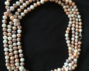Natural colored fresh water pearl necklace 6' long