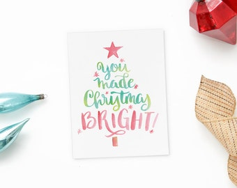 Christmas Thank You Cards - Hand Lettered Christmas Tree - Christmas Gift - Holiday Thank You Notecards