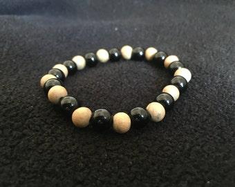 Black Jasper and Wood Bead Bracelet