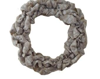 Burlap Wreath- Burlap Lace Wreath, Burlap Wreath with Lace, Rustic Home Decor