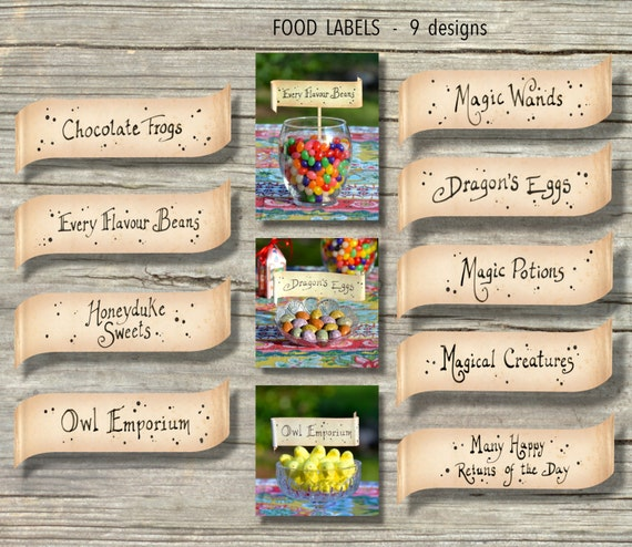 Harry Potter Food Labels / Party Printable Files Instant