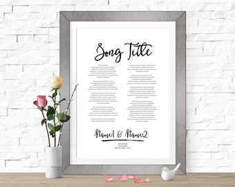 Custom Wedding Song Lyrics Sign, Digital or Print, Personalized First Dance Lyrics, Wedding Gift, First Anniversary, Paper Anniversary