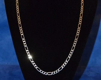 "C023 13.2g Vintage Solid Silver Figaro 20"" Sterling Necklace"
